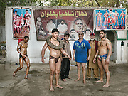 Wrestlers practicing in Lahore - a traditional sport called Kuchti. Players are called Pehlwani.