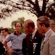 Prince Philip, Duke of Edinburgh speaking with Joseph C O'Dea, DVM at the 1978 World 3-Day Event Championships at the Kentucky Horse Park, Lexington, Kentucky.
