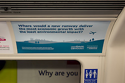 """© Licensed to London News Pictures . 06/04/2014 . London , UK . An advertisement by the """" Gatwick Obviously """" campaign , on a London Tube train , advocating for an additional runway at Gatwick Airport today (6th April 2014) as the Mayor of London , Boris Johnson , has proposed transforming the current Heathrow Airport site in to a new garden city as part of a wider plan - dubbed """" Boris Island """" - to build a new airport for the city , in the Thames Estuary. Various plans are to being considered in a bid to increase capacity within London's airport network . Photo credit : Joel Goodman/LNP"""
