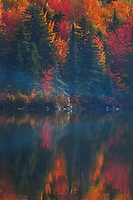 Cool mist rises against the backdrop of autumn color reflecting in Osmore Pond, Groton State Forest, Vermont