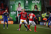 Charlton Athletic striker, Simon Makienok (9) holding up the ball during the Sky Bet Championship match between Charlton Athletic and Cardiff City at The Valley, London, England on 13 February 2016. Photo by Matthew Redman.