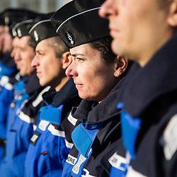 Cérémonie d'anniversaire à l'occasion des 40 ans de la Brigade Fluviale de Gendarmerie de Conflans Sainte Honorine. <br /> Décembre 2016 / Conflans Sainte Honorine (78) / FRANCE<br /> Voir le reportage complet (25 photos) http://sandrachenugodefroy.photoshelter.com/gallery/2016-12-40-ans-de-la-BF-Conflans-Complet/G0000YtLYPcSMnIM/C0000yuz5WpdBLSQ