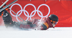 February 18, 2018 - Pyeongchang, South Korea - TEAL HARLEY of Canada slides to a stop in the finish area after crashing on one of his final runs in the Mens Ski Slopestyle competition Sunday, February 18, 2018 at Phoenix Snow Park at the Pyeongchang Winter Olympic Games.  Photo by Mark Reis, ZUMA Press/The Gazette (Credit Image: © Mark Reis via ZUMA Wire)