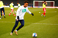 Stevenage player warming up during the EFL Sky Bet League 2 match between Stevenage and Harrogate Town at the Lamex Stadium, Stevenage, England on 6 March 2021.