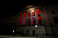 The Franklin Institute is lit by red light Sept. 1, 2020, in Philadelphia, Pennsylvania, signifying the 'Red Alert' workers in the live events industry are facing due to the impact of the COVID-19 pandemic. This nationwide effort, organized by the Live Events Coalition, is also a push for Congress towards continuation and extension of the Pandemic Unemployment Assistance to provide relief to those without work due to COVID-19.