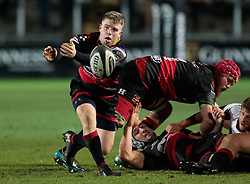 Dragons' Dan Babos gets the ball away<br /> <br /> Photographer Simon King/Replay Images<br /> <br /> Guinness Pro14 Round 10 - Dragons v Ulster - Friday 1st December 2017 - Rodney Parade - Newport<br /> <br /> World Copyright © 2017 Replay Images. All rights reserved. info@replayimages.co.uk - www.replayimages.co.uk