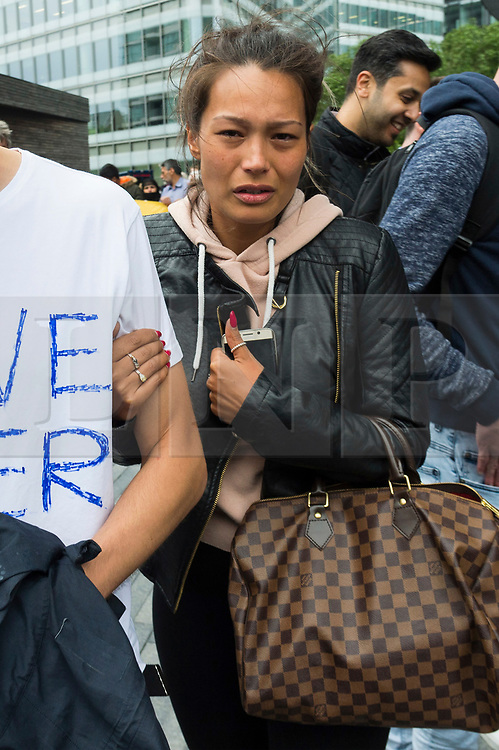 © Licensed to London News Pictures. 05/06/2017. London, UK. Melissa, the sister of London Bridge terror attack victim, James McMullan, attends a vigil at Potters Fields Park outside City Hall in London for those who lost their lives in the London Bridge terror attack. James McMullan was killed when three men attacked members of the public  after a white van rammed pedestrians on London Bridge. Ten people including the three suspected attackers were killed and 48 injured in the attack. Photo credit: Ben Cawthra/LNP