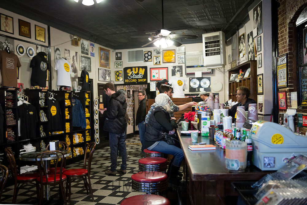 Gift shop cafeteria at Sun Studio birthplace of rock and roll stars Elvis Presley, Johnny Cash, Jerry Lee Lewis, Memphis USA