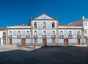 Casa de Santa Zita, Aveiro, Portugal AKA Palacete Visconde da Granja, 19th century building covered with typical colorful blue ceramic tiles called  azulejos.