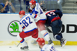 Yevgeni Medvedev of Russia and Nikolai Kulyomin of Russia vs Tomas Jurco of Slovakia during Ice Hockey match between Slovakia and Russia at Day 10 in Group B of 2015 IIHF World Championship, on May 10, 2015 in CEZ Arena, Ostrava, Czech Republic. Photo by Vid Ponikvar / Sportida
