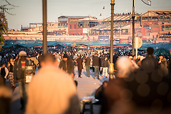 11 January 2018, Marrakesh, Morocco: The central square of Jemaa el Fnaa in the Marrakesh Medina. The square and the Medina, both listed as UNESCO World Heritate sites, form an old fortified city centre of narrow streets, shops and vendor stalls. The city of Marrakesh was founded in 1070-1072, and has long been a political, economic and cultural centre.