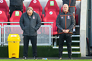 Middlesbrough manager Neil Warnock and Middlesbrough assistant manager Kevin Blackwell during the Remembrance minute's silence before the EFL Sky Bet Championship match between Brentford and Middlesbrough at Brentford Community Stadium, Brentford, England on 7 November 2020.