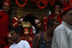 September 10, 2017 - Kathmandu, Nepal - Nepal's Living Goddess Kumari is carried on a chariot during the last day of Indra festival in Kathmandu, Nepal on Sunday, September 10, 2017. (Credit Image: © Skanda Gautam via ZUMA Wire)