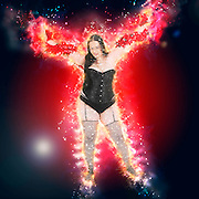 Digitally enhanced image of a showgirl in lingerie and stockings