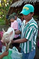 Piglet Vendor at Malatapay Market where livestock growers, local farmers and fishermen hold a large market every Wednesday for locals from neighboring towns and sometimes use the traditional Filipino barter system among themselves.  When it is not Wednesday Malatapay is a quiet place with very little activity going on.