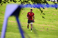 Sam Warburton , the Wales rugby team captain arrives at the RWC Wales rugby team training at the Vale Resort, Hensol near Cardiff, South Wales on Wed 16th Sept 2015.<br /> pic by Andrew Orchard, Andrew Orchard sports photography.