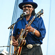 """WASHINGTON, DC -  August 15th, 2009 -  """"Godfather of Go-Go"""" Chuck Brown performs at the Stone Soul Picnic at RFK Stadium in Washington, D.C. (Photo by Kyle Gustafson)"""