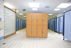 Lockers in the changing room at a sports leisure centre,