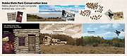 Utilizing a variety of provided and acquired source images, this complex exhibit background photo mural is composited to tell the story of the Hobbs State Park-Conservation Area. <br /> <br /> I used extensive masking, cloning, and color manipulation when creating and unifying the three sections of this mural, including photos of dozens of model passenger pigeons -- which became hundreds -- in migratory formation. <br /> <br /> I payed close attention to the details of scale and perspective in order for this mural to successfully integrate with the interpretive graphics and 3D elements, placed in front.