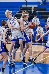 5 March 2021: Boys Basketball game between the Ridgeview Mustangs and the Tri Valley Vikings in Downs IL