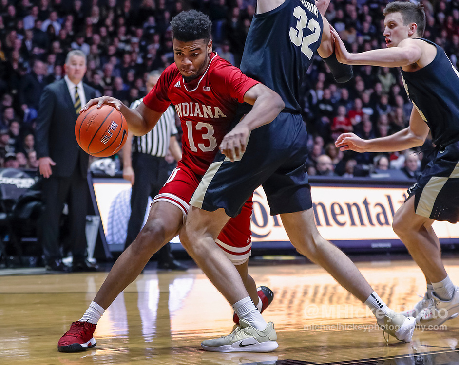 WEST LAFAYETTE, IN - JANUARY 19: Juwan Morgan #13 of the Indiana Hoosiers drives to the basket during the game against the Purdue Boilermakers at Mackey Arena on January 19, 2019 in West Lafayette, Indiana. (Photo by Michael Hickey/Getty Images) *** Local Caption *** Juwan Morgan
