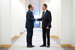 EXCLUSIVE - French Economy and Industry Minister Emmanuel Macron meets French carmaker PSA Peugeot Citroen Chairman of the Managing Board Carlos Tavares during a visit at the PSA headquarters in Paris on September 30, 2014. Photo by Nicolas Gouhier/ABACAPRESS.COM