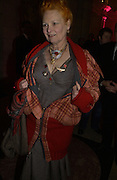 """Vivienne Westwood. The private views for Anna Piaggi's exhibition """"Fashion-ology"""" and also 'Popaganda: the life and style of JC de Castelbajacat' the Victoria & Albert Museum on January 31  2006. © Copyright Photograph by Dafydd Jones 66 Stockwell Park Rd. London SW9 0DA Tel 020 7733 0108 www.dafjones.com"""