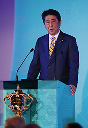 KYOTO, JAPAN - MAY 10: Shinzo Abe, Prime Minister of Japan addresses the audience during the Rugby World Cup 2019 Pool Draw at the Kyoto State Guest House on May 10, in Kyoto, Japan. Photo by Dave Rogers - World Rugby/PARSPIX/ABACAPRESS.COM