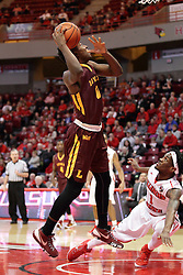 06 January 2016: Donte Ingram(0) takes a shot as Paris Lee(1) falls to the floor during the Illinois State Redbirds v Loyola-Chicago Ramblers at Redbird Arena in Normal Illinois (Photo by Alan Look)
