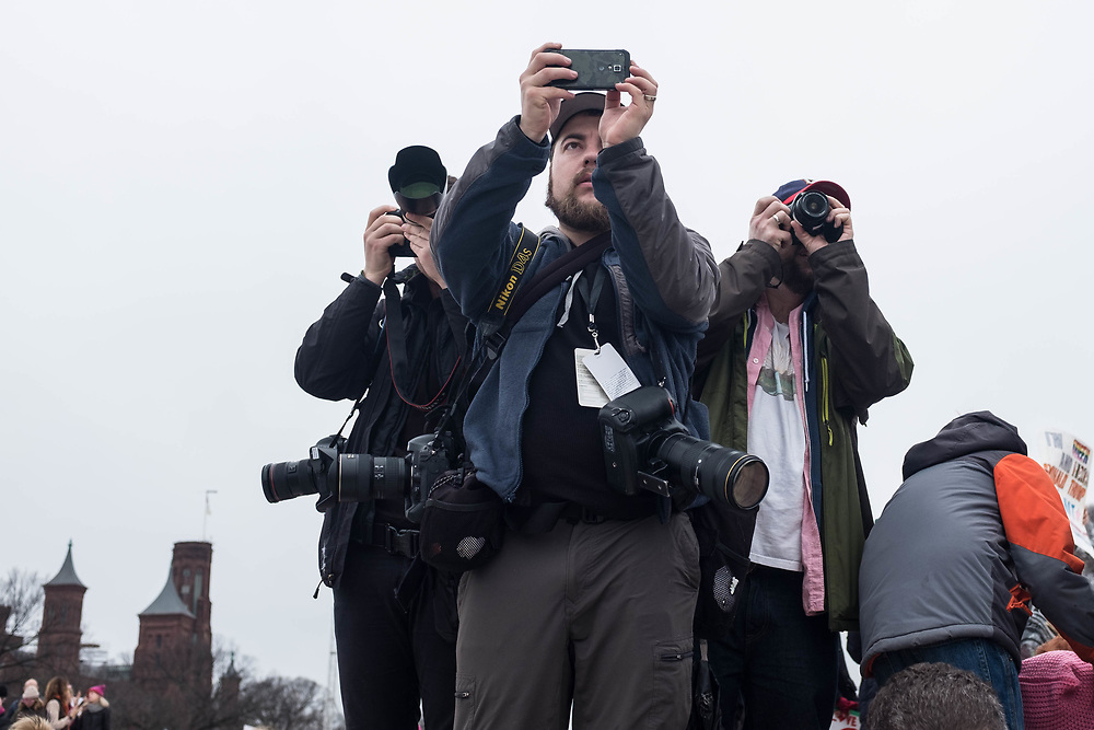 Press photographers hard at work at the Women's March DC.