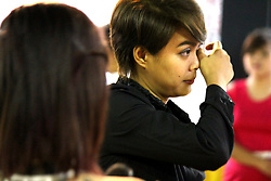 June 25, 2017 - Quezon City, Philippines - Janica Karla P. Nazario, 24 years old get emotional during their wedding ceremony on the Grand Mass Wedding that was done Rev. Crescencio Agbayani Jr. under by LGBTS Christian Church Inc. in Project 8, Quezon City. The wedding participants are composing of 10 lesbian couples, 4 gay couples and 1 transgender couple. (Credit Image: © Gregorio B. Dantes Jr/Pacific Press via ZUMA Wire)