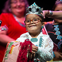 Tiny Tot contestant Mya Morez, 5, is crowned 2019-2020 Miss Gallup Inter Tribal Indian Ceremonial Little Princess Monday evening at the El Morro Theater.