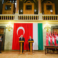 Recep Tayyip Erdogan (L) Prime Minister of Turkey and his counterpart Viktor Orban (R) talk during a press conference in Budapest, Hungary on February 05, 2013. ATTILA VOLGYI