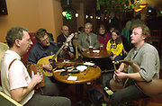 Musicians, Mike Dowd, Donal Moroney and Barry Lynch getting a trad session into swing in a local pub during the annual Patrick O'Keeffe Traditional Music Festival in Castleisland, Co. Kerry.<br /> Picture by MacMonagle, Killarney