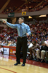 14 October 2006:  Coach Porter Moser gets excited.....In a game that involved both coaches as much as the players, the Northern Iowa Panthers plucked the Illinois State University Redbirds in a Missouri Valley Conference game by a score of 67 - 52. Competition took place at Redbird Arena in Normal Illinois