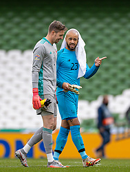 DUBLIN, REPUBLIC OF IRELAND - Sunday, October 11, 2020: Wales' goalkeeper Wayne Hennessey (L) and Republic of Ireland's goalkeeper Darren Randolph during the UEFA Nations League Group Stage League B Group 4 match between Republic of Ireland and Wales at the Aviva Stadium. The game ended in a 0-0 draw. (Pic by David Rawcliffe/Propaganda)