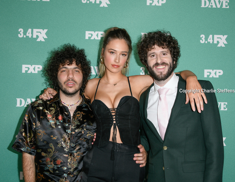 Left to right: Benny Blanco, Elsie Hewitt, and Dave Burd attend the red carpet premiere event for FXX's 'Dave' at the Director's Guild in Los Angeles, California