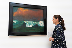 Painting Brecher ( Breakers) by Emile Nolde on display at Hamburger Bahnhof in Berlin , Germany .Editorial Use Only.