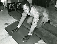 1967 Sidney Poitier's hand and footprint ceremony at the Chinese Theater