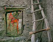 Cloth attached to ward off evil eye in front of sheep pen.  The traditional life of the Wakhi people, in the Wakhan corridor, amongst the Pamir mountains.