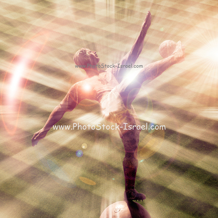 Digitally enhanced image of a statue of a football player in action