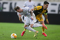 ATHENS, GREECE - OCTOBER 29: Petros Mantalosof AEK Athens and James Maddisonof Leicester City during the UEFA Europa League Group G stage match between AEK Athens and Leicester City at Athens Olympic Stadium on October 29, 2020 in Athens, Greece. (Photo by MB Media)