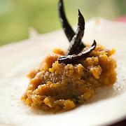 Andhra-style sweet and sour pumpkin at Gunpowder restaurant at Hauz Khaz Village in Delhi (Gunpowder: The Peninsular Kitchen, Gunpowder.co.in, 22 Hauz Khaz Village, 3rd Floor, Ph: (011) 2653 5700. Closed Mondays. Reservations advised.)