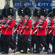 The funeral of former Prime Minister Margaret Thatcher who died Monday April 8. Military parade in bear skin hats and red uniform.
