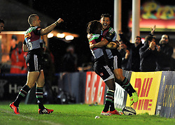 Danny Care of Harlequins celebrates his try - Photo mandatory by-line: Patrick Khachfe/JMP - Mobile: 07966 386802 17/10/2014 - SPORT - RUGBY UNION - London - Twickenham Stoop - Harlequins v Castres Olympique - European Rugby Champions Cup