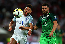 Alex Oxlade-Chamberlain of England challenges Bojan Jokic of Slovenia - Mandatory by-line: Robbie Stephenson/JMP - 05/10/2017 - FOOTBALL - Wembley Stadium - London, United Kingdom - England v Slovenia - World Cup qualifier