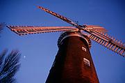 A913T2 Windmill sails and red brick tower Buttram's mill Woodbridge Suffolk England