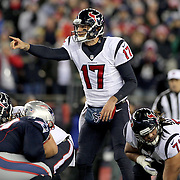 FOXBOROUGH, MASSACHUSETTS - JANUARY 14: Quarterback Brock Osweiler #17 of the Houston Texans  in action during the Houston Texans Vs New England Patriots Divisional round game during the NFL play-offs on January 14th, 2017 at Gillette Stadium, Foxborough, Massachusetts. (Photo by Tim Clayton/Corbis via Getty Images)