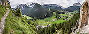 Wolkenstein Castle was built in the 1200s, was named for a 1400s troubadour, collapsed in 1525 AD, was rebuilt but then fell into disrepair. Vallunga/Langental valley makes a perfect walking destination in Puez-Geisler Nature Park, in Val Gardena, Dolomites, South Tyrol, Italy, Europe. The beautiful ski resort of Selva di Val Gardena (German: Wolkenstein in Gröden; Ladin: Sëlva Gherdëine) makes a great hiking base in the Dolomites, in the South Tyrol region (Trentino-Alto Adige/Südtirol) of Italy, Europe. For our favorite hike in the Dolomiti, start from Selva with the first morning bus to Ortisei, take the Seceda lift, admire great views up at the cross on the edge of Val di Funes (Villnöss), then walk 12 miles (2000 feet up, 5000 feet down) via the steep pass Furcela Forces De Sieles (Forcella Forces de Sielles) to beautiful Vallunga (trail #2 to 16), finishing where you started in Selva. The hike traverses the Geisler/Odle and Puez Groups from verdant pastures to alpine wonders, all preserved in a vast Nature Park: Parco Naturale Puez-Odle (German: Naturpark Puez-Geisler; Ladin: Parch Natural Pöz-Odles). UNESCO honored the Dolomites as a natural World Heritage Site in 2009. This panorama was stitched from 9 overlapping photos.