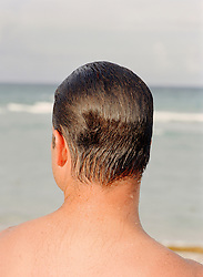 back of a man's head with wet hair at the ocean back of a man's head with combed wet hair at the ocean